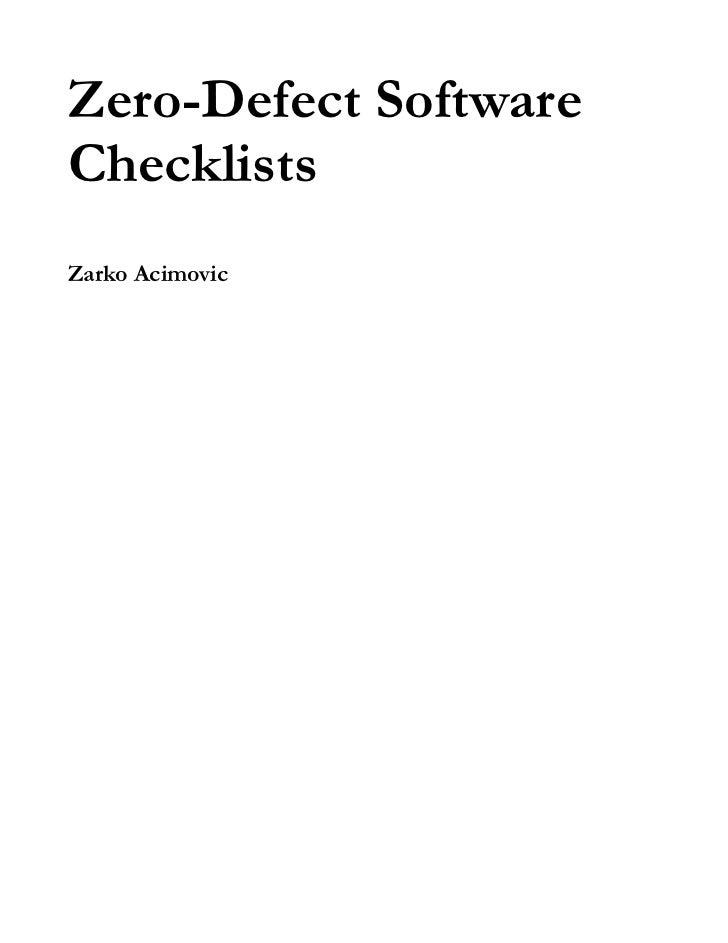 Zero-Defect SoftwareChecklistsZarko Acimovic
