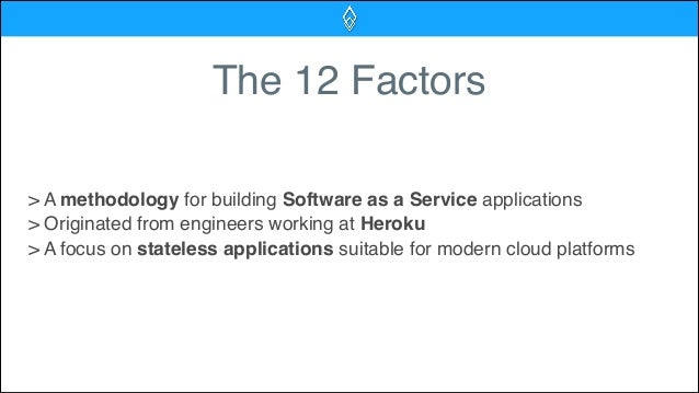 The 12 Factors > A methodology for building Software as a Service applications > Originated from engineers working at Hero...