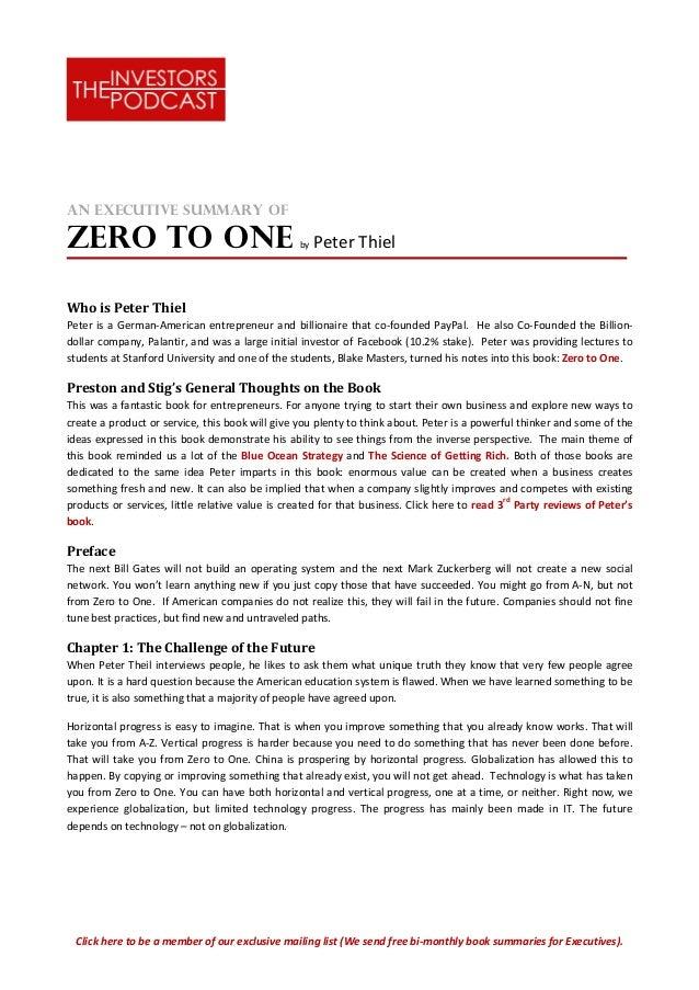 the summary of Zero to One book