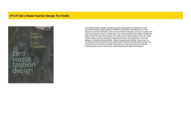 P D F Zero Waste Fashion Design For Kindle