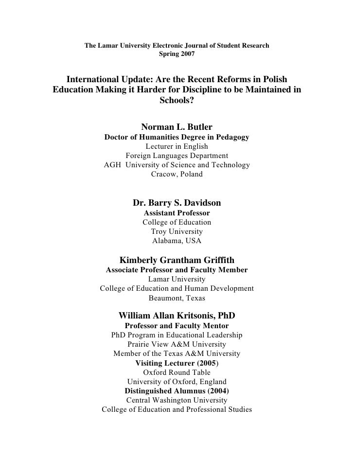 The Lamar University Electronic Journal of Student Research                              Spring 2007   International Updat...