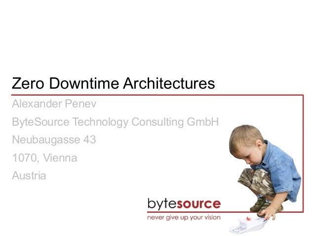 Zero Downtime Architectures Alexander Penev ByteSource Technology Consulting GmbH Neubaugasse 43 1070, Vienna Austria