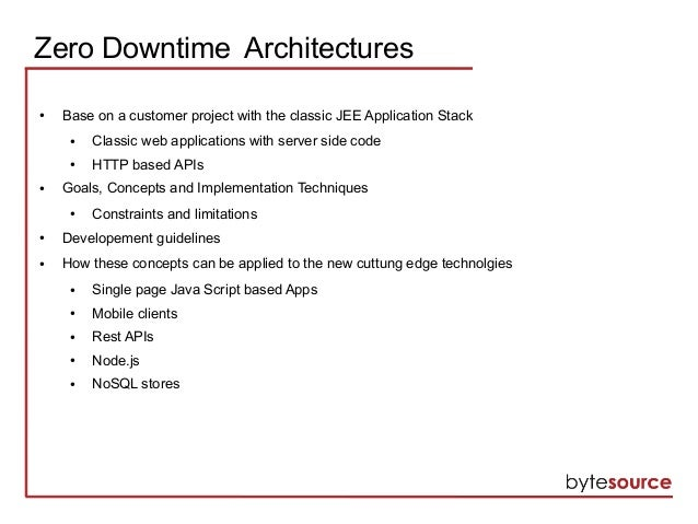 Zero downtime jee architectures for Architecture jee