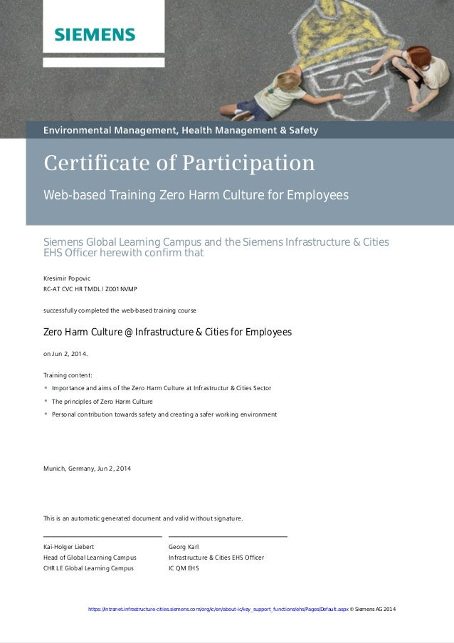 Certificate of Participation Web-based Training Zero Harm Culture for Employees Siemens Global Learning Campus and the Sie...