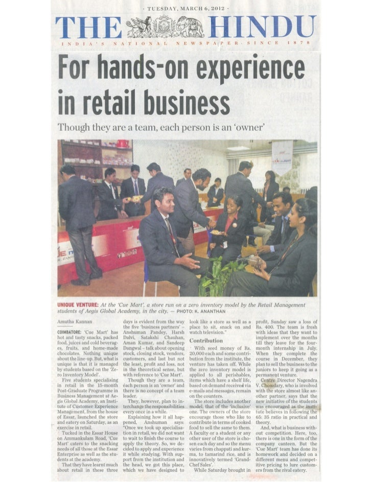 Zero Inventory Model + Inclusive Business Model Based Retail Outlet   The Hindu Coverage