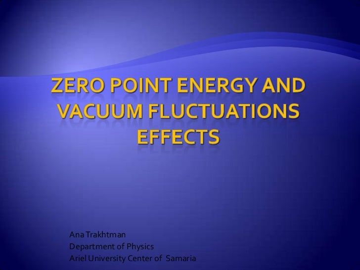 Zero Point Energy and Vacuum Fluctuations Effects<br />Ana Trakhtman<br />Department of Physics<br />Ariel University Cent...