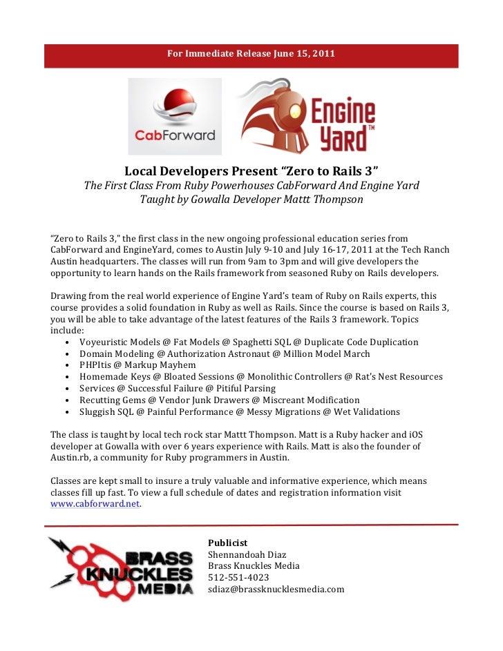 """For Immediate Release June 15, 2011                                     Local Developers Present """"Zero..."""