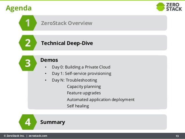 © ZeroStack Inc. | zerostack.com 13 Agenda ZeroStack Overview Summary 1 3 4 Technical Deep-Dive2 Demos • Day 0: Building a...