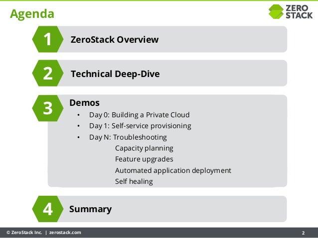 © ZeroStack Inc. | zerostack.com 2 Agenda ZeroStack Overview Summary Demos • Day 0: Building a Private Cloud • Day 1: Self...