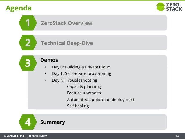 © ZeroStack Inc. | zerostack.com 24 Agenda ZeroStack Overview Summary 1 3 4 Technical Deep-Dive2 Demos • Day 0: Building a...
