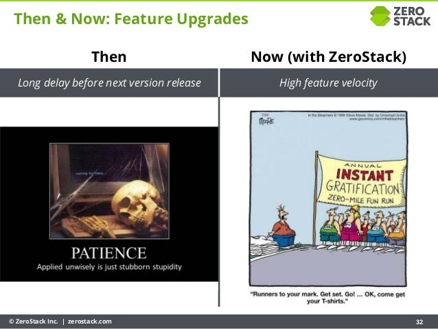 © ZeroStack Inc. | zerostack.com 32 Then & Now: Feature Upgrades Then Long delay before next version release Now (with Zer...