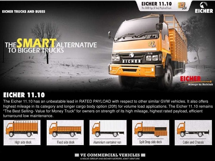 The Eicher 11.10 has an unbeatable lead in RATED PAYLOAD with respect to other similar GVW vehicles. It also offers highes...