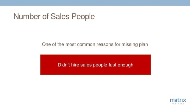 Number of Sales People One of the most common reasons for missing plan Didn't hire sales people fast enough