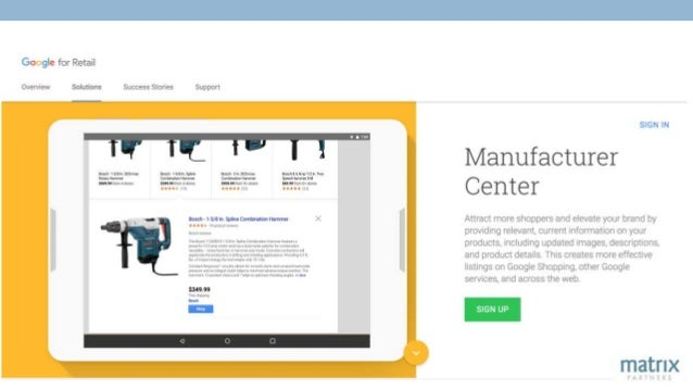 Problem Solved – Export to Google Manufacturer Center Sign up Import Content Locate & Export Content Play with Sample Data...