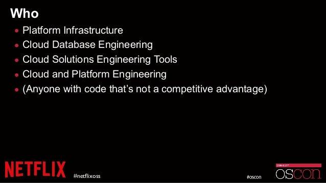 Who • Platform Infrastructure • Cloud Database Engineering • Cloud Solutions Engineering Tools • Cloud and Platform Engine...