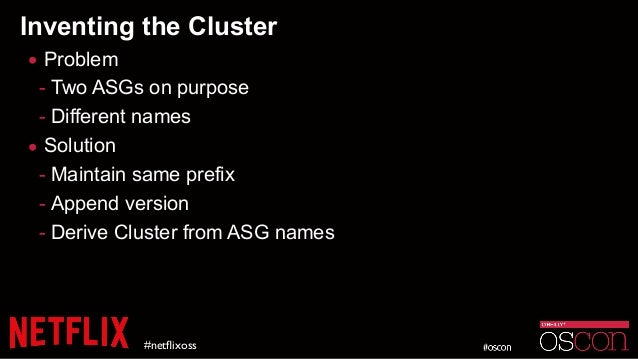 Inventing the Cluster • Problem - Two ASGs on purpose - Different names • Solution - Maintain same prefix - Append version...