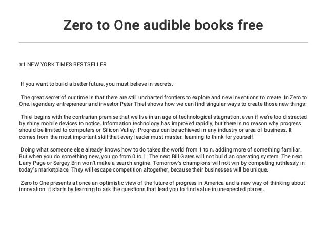 Zero to One audible books free