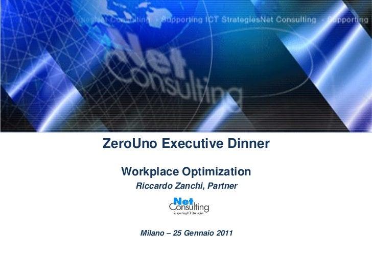 ZeroUno Executive Dinner  Workplace Optimization    Riccardo Zanchi, Partner     Milano – 25 Gennaio 2011