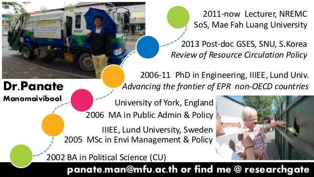 panate.man@mfu.ac.th or find me @ researchgate 2002 BA in Political Science (CU) IIIEE, Lund University, Sweden 2005 MSc i...