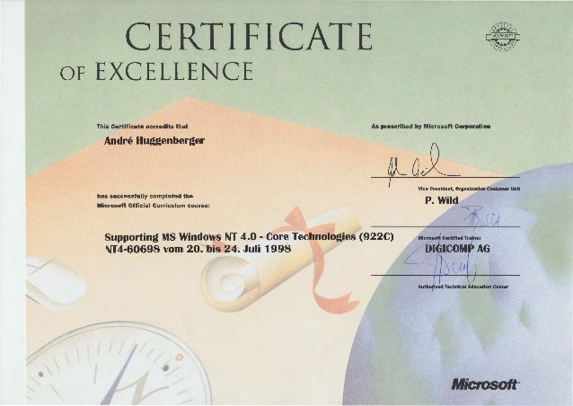 Zertifikate Microsoft – Microsoft Certificate of Excellence