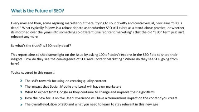What's the Future of SEO? 100 Industry Influencers Share Their Predictions Slide 3