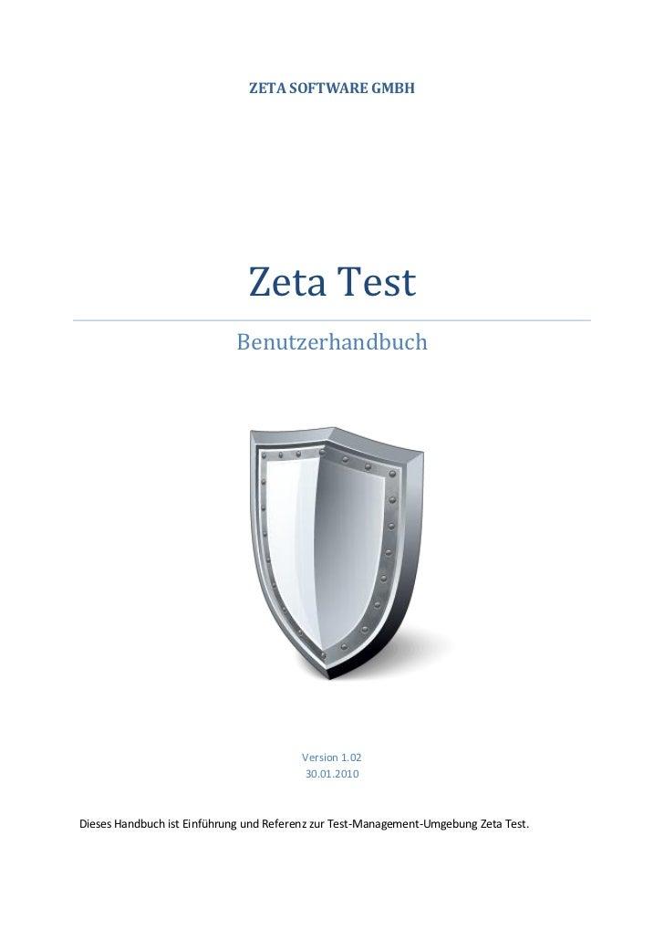ZETA SOFTWARE GMBH                               Zeta Test                             Benutzerhandbuch                   ...