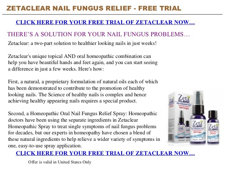 Zetaclear Nail Fungus Relief Free Trial