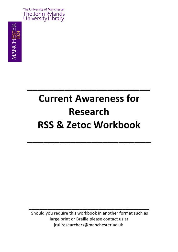 _______________________  Current Awareness for         Research  RSS & Zetoc Workbook _______________________     ________...