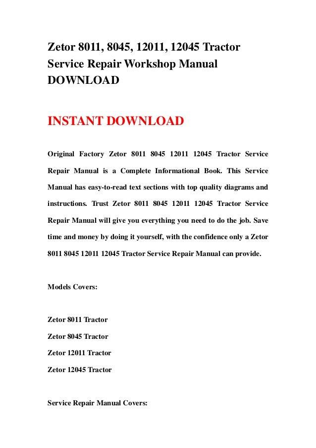 zetor 8011 8045 12011 12045 tractor service repair workshop manual rh slideshare net New Holland Tractors Zetor 8011 Spec