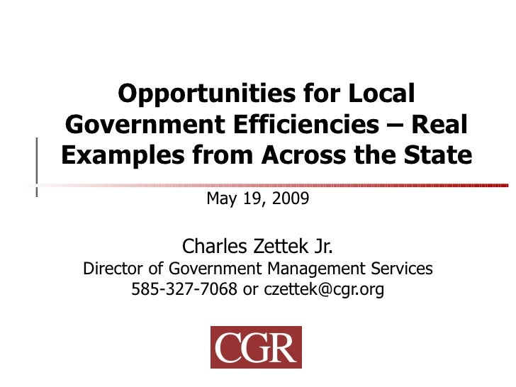 Opportunities for Local Government Efficiencies – Real Examples from Across the State May 19, 2009 Charles Zettek Jr. Dire...