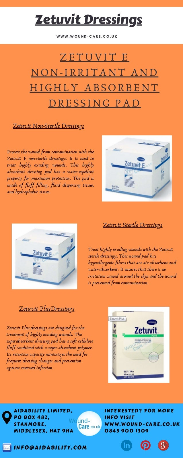 ZETUVIT E NON-IRRITANT AND HIGHLY ABSORBENT DRESSING PAD AIDABILITY LIMITED, PO BOX 482, STANMORE, MIDDLESEX, HA7 9HA W W ...