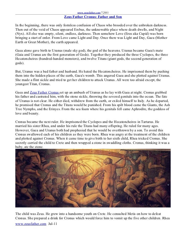 www.zeusfather.com 7.2011                                  Zeus Father Cronus: Father and SonIn the beginning, there was o...