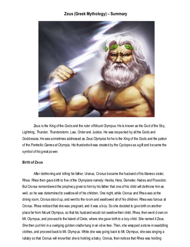 a summary on zeus the greek Learn more about greek god zeus king of the greek but the non-greek kraken is not part of the traditional mythology of zeus more fast facts on greek gods and.