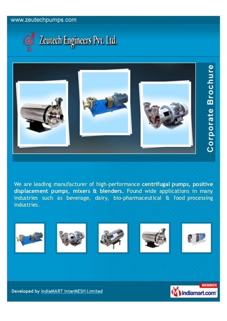 We are leading manufacturer of high-performance centrifugal pumps, positivedisplacement pumps, mixers & blenders. Found wi...