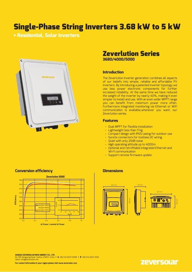 Zeverlution 4000 and 5000s Single phase Inverter