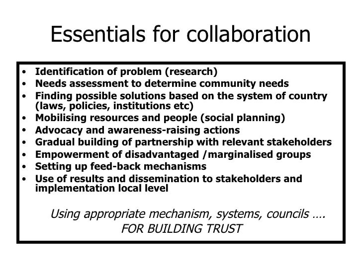 Examples of inter-sectoral partnership at local level for
