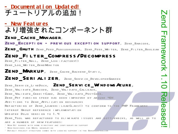 - Documentation Updated! チュートリアルの追加!   - New Features より増強されたコンポーネント群 Zend_Cache_Manager ,  Zend_Exception - previous exce...