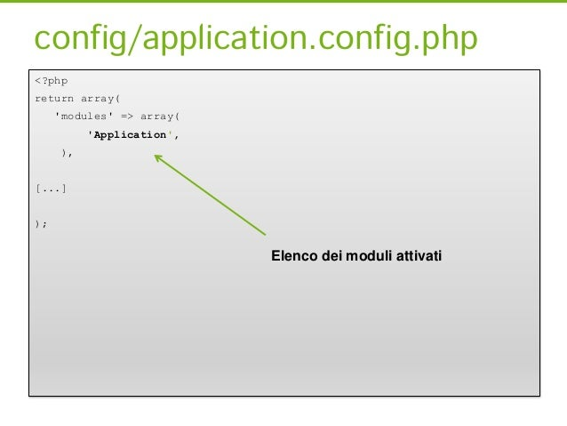 Module.config.php<?php [...]return array(      router => array(routes => array([…]),      ),      service_manager => array...