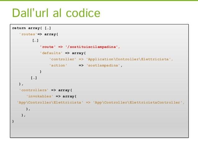 Dall'url al codicereturn array( […]    routes=> array(              […]                    route => /sostituiscilampadina,...