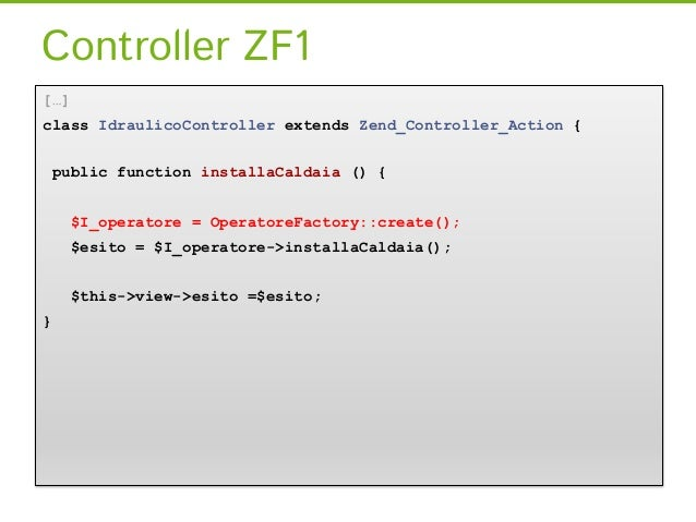 Riconsideriamo la configurazionereturn array(     ...     controllers => array(       'factories => array(           AppCo...