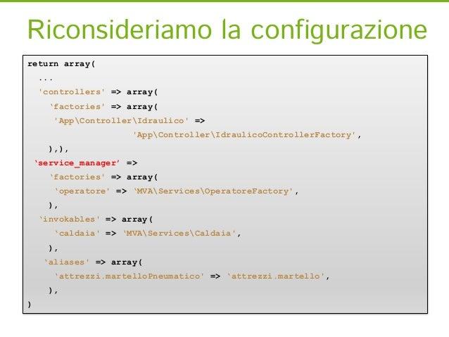 Invokablesreturn array(     ...     controllers => array(       'factories => array(           AppControllerIdraulico =>  ...