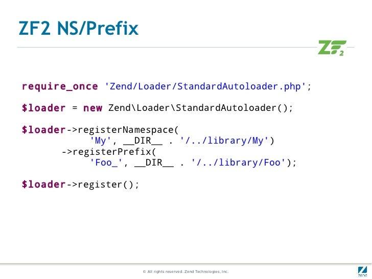 ZF2 NS/Prefixrequire_once Zend/Loader/StandardAutoloader.php;$loader = new ZendLoaderStandardAutoloader();$loader->registe...