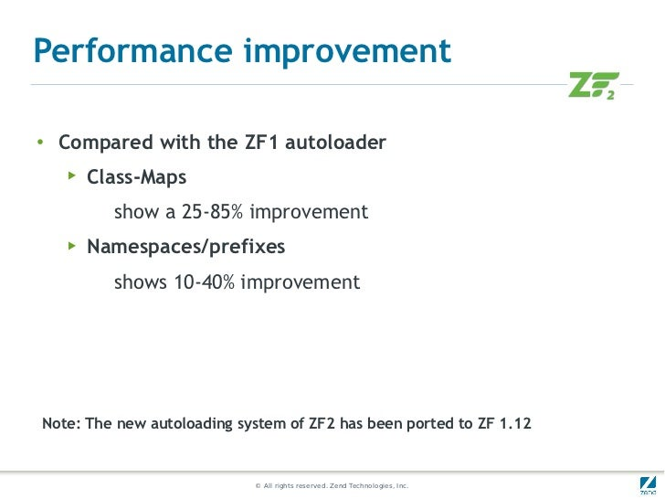 Performance improvement●    Compared with the ZF1 autoloader    ▶   Class-Maps          show a 25-85% improvement    ▶   N...
