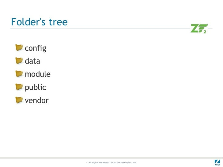 Folders tree   config   data   module   public   vendor                © All rights reserved. Zend Technologies, Inc.