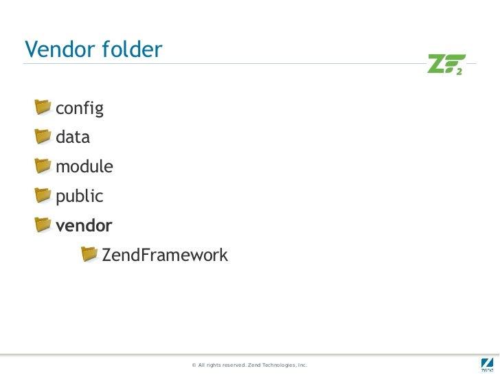 Vendor folder  config  data  module  public  vendor         ZendFramework                  © All rights reserved. Zend Tec...