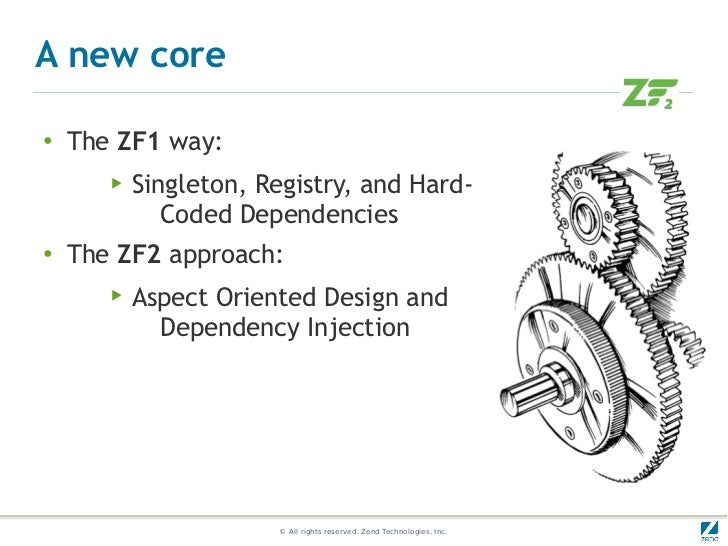 A new core●    The ZF1 way:       ▶   Singleton, Registry, and Hard-              Coded Dependencies●   The ZF2 approach: ...