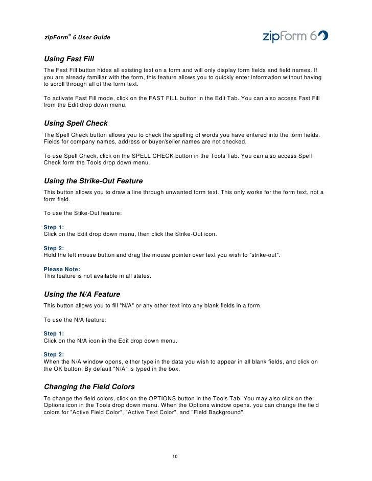 zipforms online 6 users guide