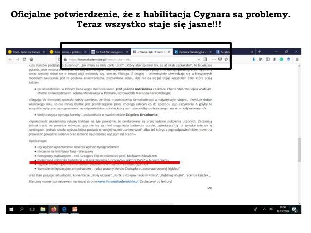 Oficjalne potwierdzenie, że z habilitacją Cygnara są problemy. Teraz wszystko staje się jasne!!!