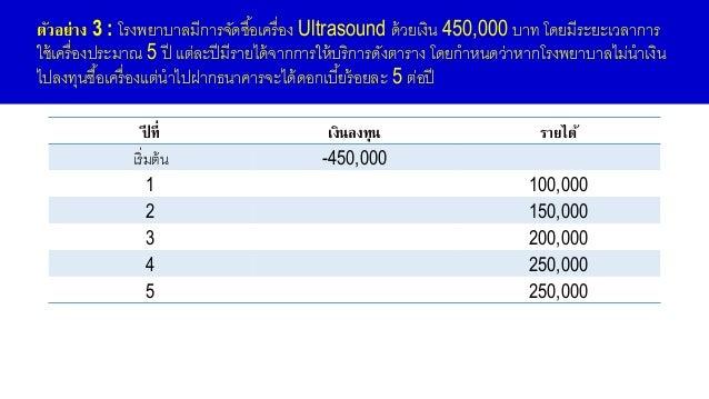 ตัวอย่าง 3 : โรงพยาบาลมีการจัดซื้อเครื่อง Ultrasound ด้วยเงิน 450,000 บาท โดยมีระยะเวลาการ ใช้เครื่องประมาณ 5 ปี แต่ละปีมี...