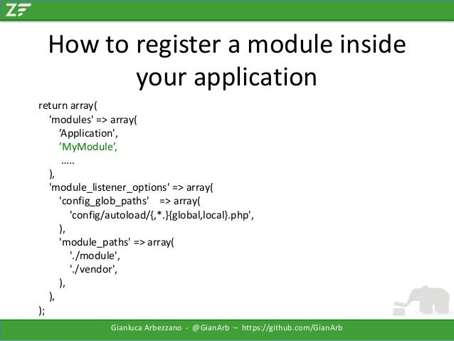How to register a module inside your application return array( 'modules' => array( 'Application', 'MyModule', ….. ), 'modu...